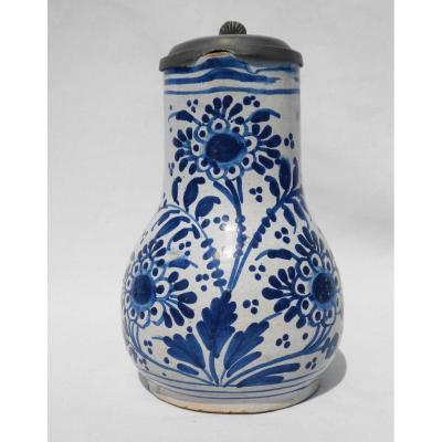 Pichet / Broc En Faience De Bailleul ( Nord ) Camaieu De Bleu Complet XVIIIe Siecle Delft étain