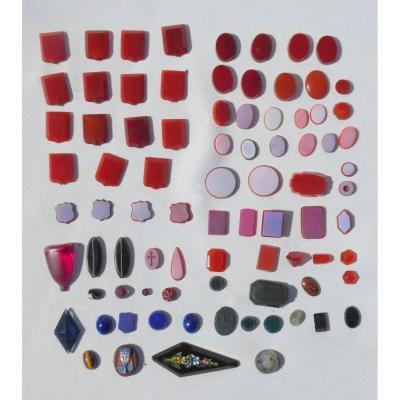 Lot d'Intailles / Camées Vierge En Agate / Lapis , Bijoux XIXe Matrice De Sceau Micro Mosaique