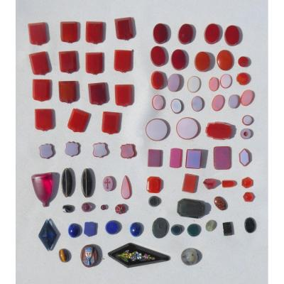 Lot Of Intaglio / Virgin Agate Cameos / Lapis, XIXth Jewels Micro Mosaic Seal Matrix