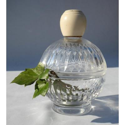 Large Perfume Bottle System Jewelry Box Ivory Cap Cut Crystal Art Deco Baccarat 1920
