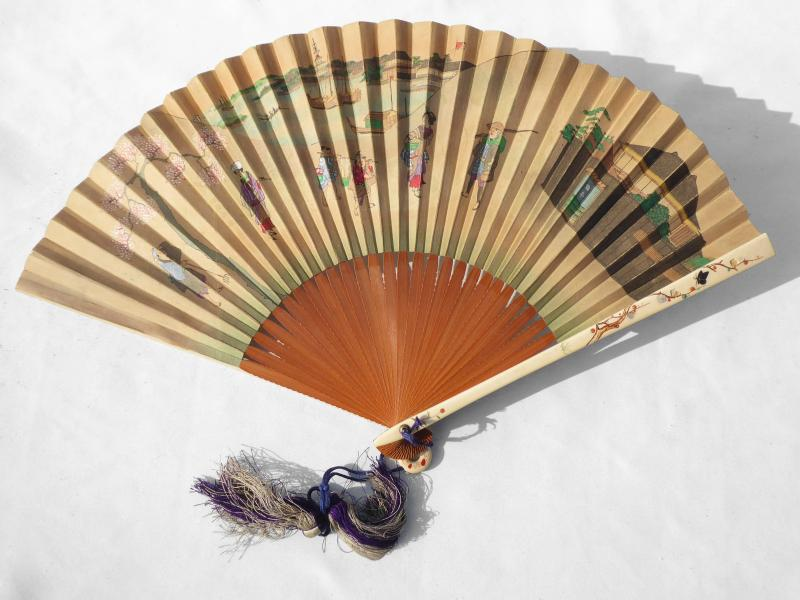 Fan From Japan, Wood Frame, Ivory & Mother Of Pearl 1890 Fan Print Asia XIXth-photo-2