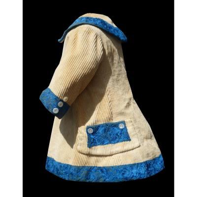 Robe à Tournure Manteau d'Enfant époque 1880 Velours Cotelé , Vêtement De Poupée , Costume XIXe