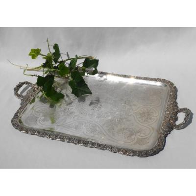 Large Service Tray In Silver Metal Napoleon III, Vine Decor, Grape Nineteenth Handles