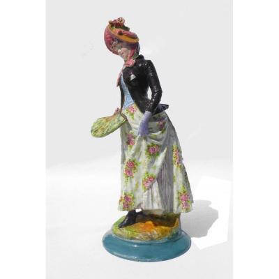 Impressionist Faience Sculpture Montigny Sur Loing Fan 1880 XIXth Woman In Majolica Dress