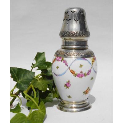 Brule Parfum En Procelaine , Monture En Argent Massif , Style Louis XVI , Sèvres / Samson XIXe