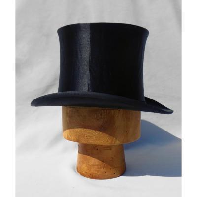 Chapeau Claque / Gibus Haut De Forme Avec Sa Boite , En Soie XIXe Homme Belle Epoque 1900