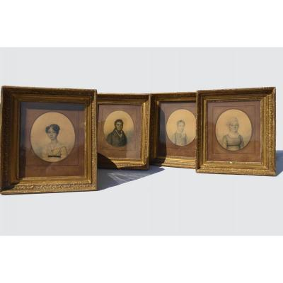 Series Of 4 Charcoal Portraits Drawing XIX Empire Style; In Le Gout De Boilly Portrait 1820