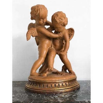 Groupe En Terre Cuite Paire d'Anges Sculpture XIXe Falconet , Ange à La Conquete d'Un Coeur XIX