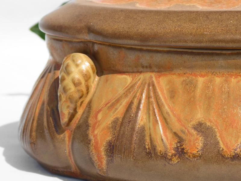 Bonbonniere De Style Art Nouveau Grès De Denbac Boite à Décor De Pommes De Pin Coffret à Bijoux-photo-3