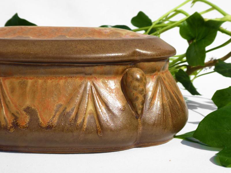 Bonbonniere De Style Art Nouveau Grès De Denbac Boite à Décor De Pommes De Pin Coffret à Bijoux-photo-4