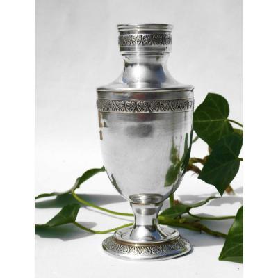 Vase à Bulbe Balustre En Argent Massif  , Style Premier Empire  , Epoque 1880 XIXe
