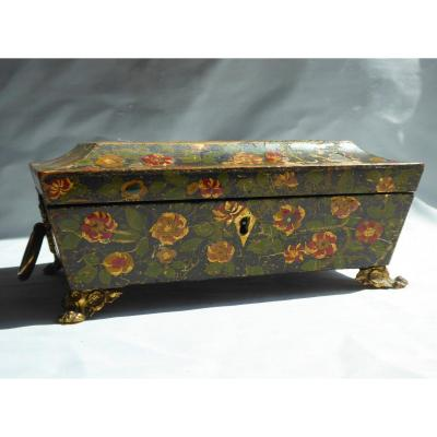 Box / Jewelery Box In Painted Wood Period 1820 Eighteenth Style, Tomb XIXth Couture