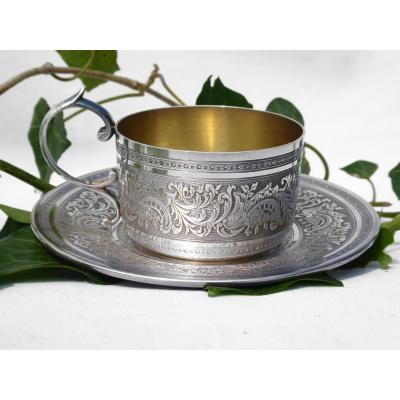 Cup & Sub Cup In Sterling Silver, Foliage Decor, Goldsmith Roussel 1900 Hallmark Minerva