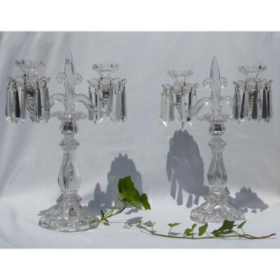 Pair Of Candlesticks / Candelabres Crystal Of Saint Louis Chandelier Fleur De Lys Royalist XIX