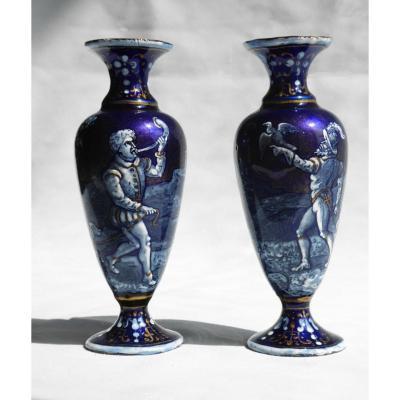 Paire De Vases En Emaux De Limoges Style Renaissance XIXe Theme Chasse Venerie Vase émail émaux
