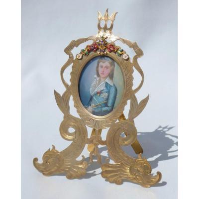 Miniature Sur Ivoire Portrait Du Roi Louis XVII Dauphin Cadre Emaillé XIXe Marie Antoinette