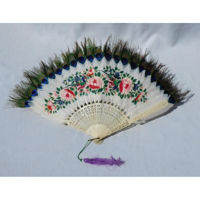 Ball Fan In Painted Feathers, Nineteenth Time, China / Asia Napoleon III, Ivory Fan