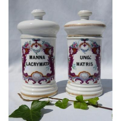 Pair Of Paris Porcelain Pharmacy Jars Louis Philippe Apothecary Period Painted Decor Jar