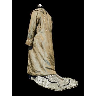 Manteau / Peignoir d'Interieur En Soie Brodée Fin XIXe , Kimono , Chine , Costume Vers 1890