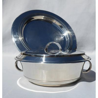 Covered Legumier & Its Tray, Art Deco Silver Metal, Ercuis Modernist Lines Vegetable Dish