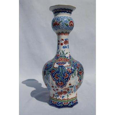 Large Bulb Vase In Polychrome Faience From Delft, Double Burette Brand Nineteenth Tulips