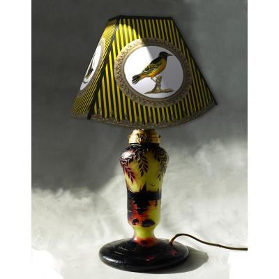 Art Nouveau Table Lamp, Cross Of Lorraine, Michel, School Of Nancy Acid Glass Pate