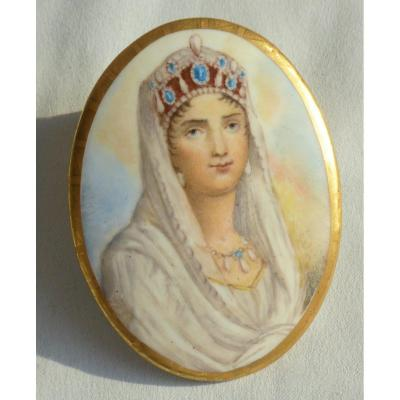 Portrait Of The Empress Josephine, Miniature On Porcelain First Empire Napoleon 1st
