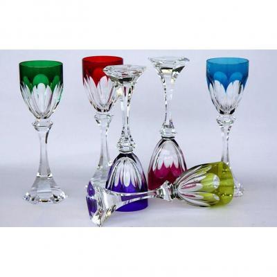 Serie de 6 Verres A Vin Du Rhin Cristal Roemer Saint Louis Chambord