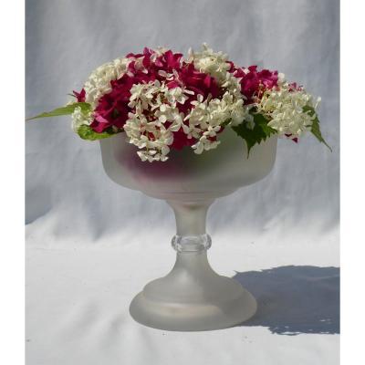 Vase / Centre De Table En Cristal Dépoli De Saint Louis , Louis Philippe XIXe Coupe / Compotier