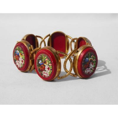 Bracelet d'époque Napoléon III  Micromosaique Souvenir Du Grand Tour Bijou Micro Mosaique XIXe
