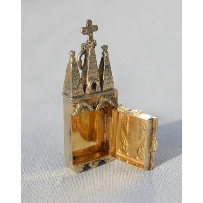 Reliquaire En Argent Massif & Vermeil Miniature De Poupee Gothique , Cathédrale XIXe église