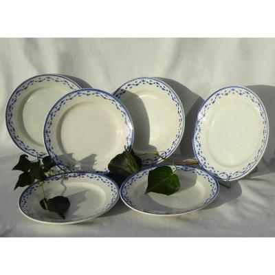 Série De 6 Assiettes En Porcelaine Tendre De Tournai / Arras , Fin XVIIIe Louis XVI Assiette