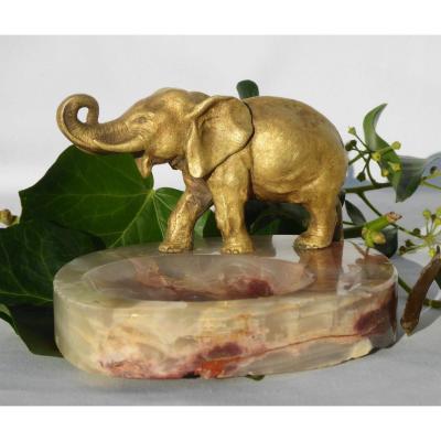 Vide Poche En Bronze Doré , Marbre , Elephant Trompe Levée Vers 1920 Sujet Animalier