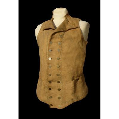 Gilet De Chasse En Cuir , époque 1820 , Costume Masculin XIXe Siecle , Vêtement Homme Dandy