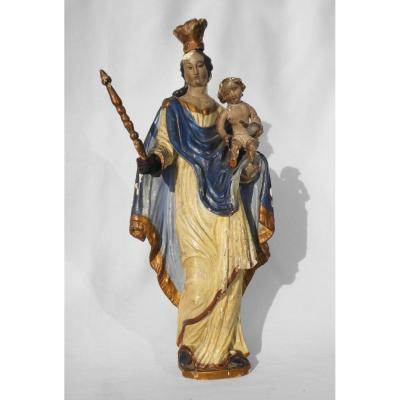 Vierge à l'Enfant , Epoque XVIIIe Siecle , Bois Polychrome Sculpté Religieux , Majesté Baroque