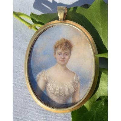 Portrait Miniature Sur Ivoire , Jeune Femme Lady Fin XIXe , Signé S. Cotlett XIXe 1890 Peinture
