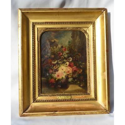 Oil On Canvas Bouquet Of Flowers, Napoleon III Period Signed Hippolyte Ballue Diaz Nineteenth
