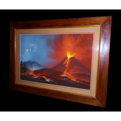 Grande Gouache Napolitaine , Souvenir Du Grand Tour , XIXe éruption Du Vésuve , Volcan 1820