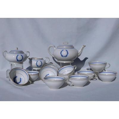 Service De Table Thé / Café En Porcelaine De Limoges Couronne De Laurier XIXe Style Louis XVI