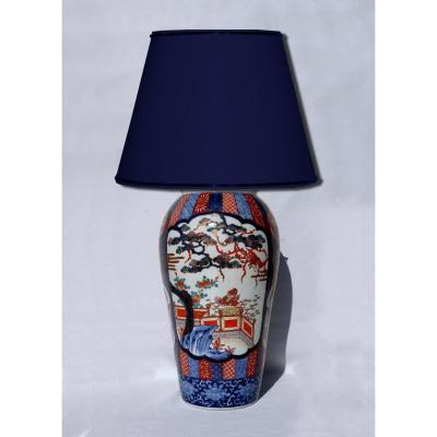 Grande Lampe De Table En Porcelaine Asiatique Imari Japon XIXe Vase Asie