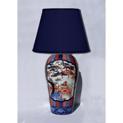 Large Asian Porcelain Table Lamp Imari Japan Nineteenth Asian Vase