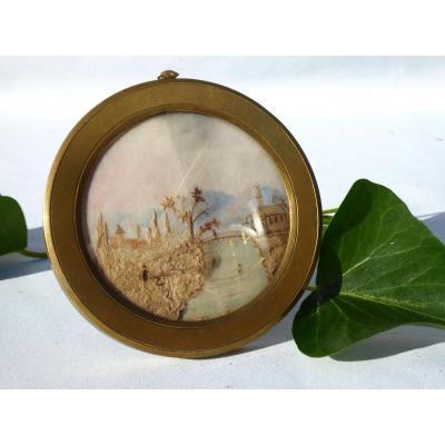 Miniature , Broderie De Cheveux , époque Début XIXe Siecle , Objet De Curiosités Reliquaire