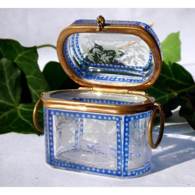 Coffret à Bijoux En Cristal Gravé De Baccarat, Epoque Napoléon III Decor De Chasse XIXe Overlay