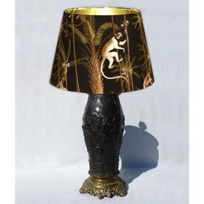 Antique Table Lamp Japan Bronze