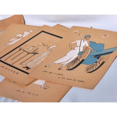 Serie De 10 Pochoirs Affiches Humoristiques Guerre De 1914-1918 Infirmieres Album Gouache