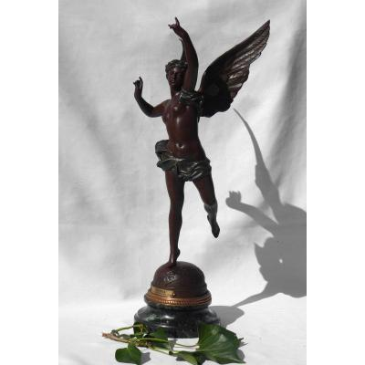 Nineteenth Sculpture, Winged Woman, Allegory Of Art Nouveau Glory, Bronze Patina Marble Base