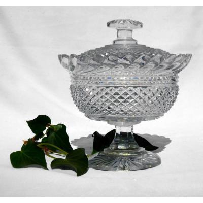 Drageoir / Confiturier In Cristal Du Creusot / Vonêche / Baccart Nineteenth, Charles X Style