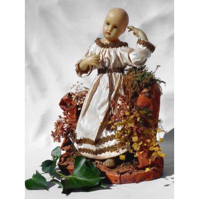 Jésus De Crèche En Cire , époque Napoléon III , Bébé XIXe , Jesus De Creche Sur Rocher Nativity