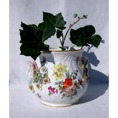 Nineteenth Saxony Porcelain Cache Pot, Carl Theme Napoleon III Meissen Style Flowers