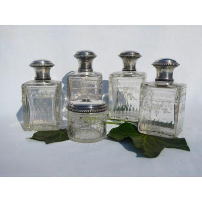 Service De Toilette En Argent Massif & Cristal Gravé Napoléon III Flacons à Parfum , Flacon XIX